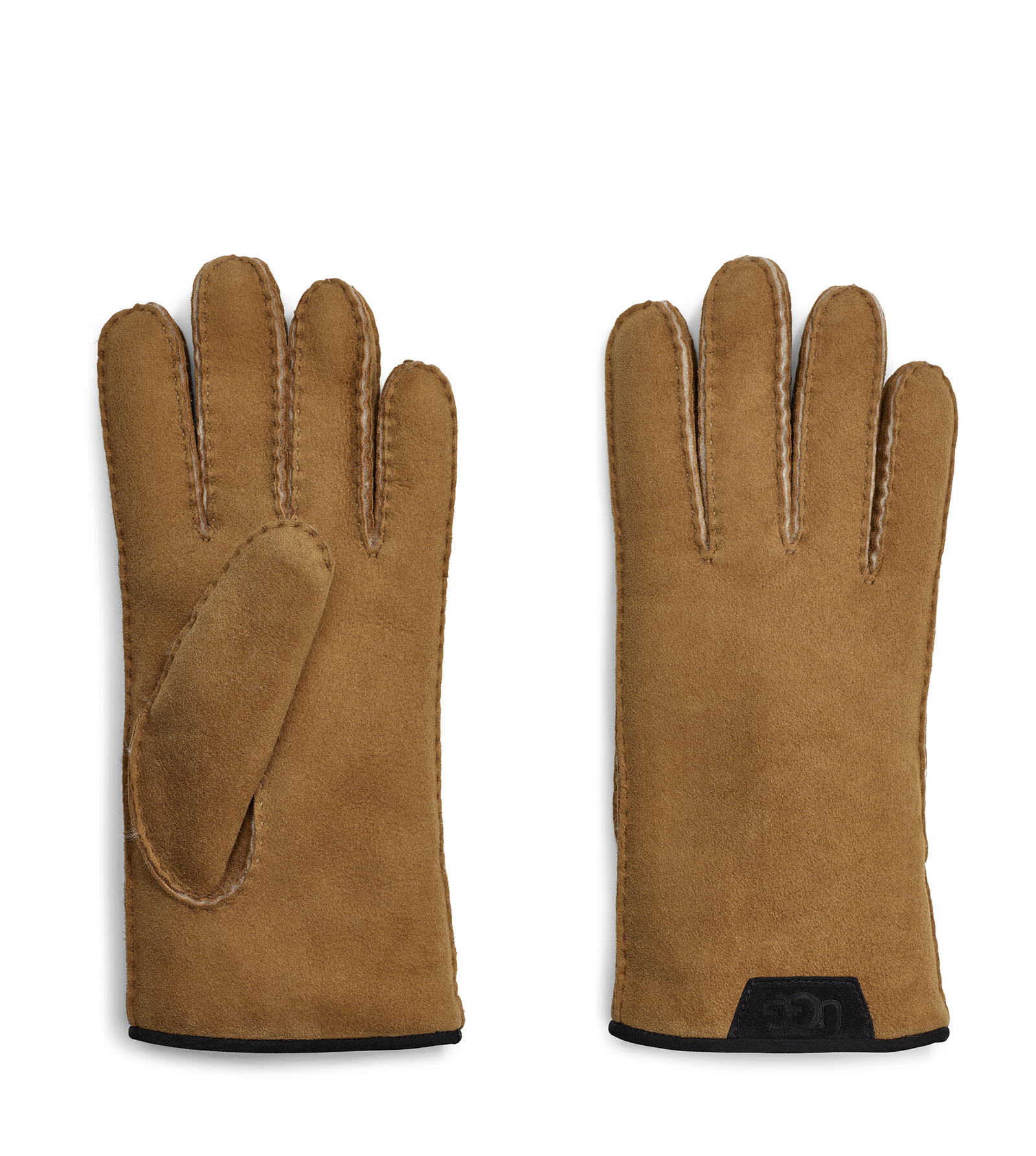 Shearling Glove With Leather Trim